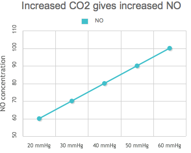 Increased CO2 gives increased NO